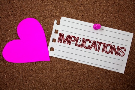 Handwriting text Implications. Concept meaning Conclusion State of being involved Suggestion Insinuation Hint Piece notebook paper grunge ideas pink heart cork background love lovely