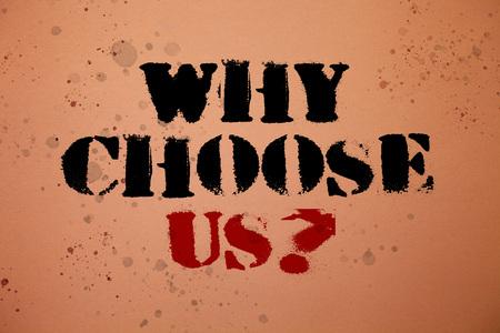 Handwriting text writing Why Choose Us Question. Concept meaning reasons that you are best showing possibilities Pink background messages thoughts important remember lovely memories