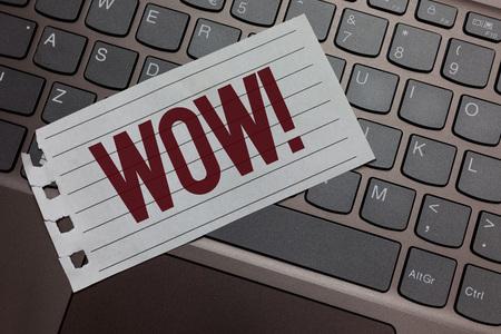Writing note showing Wow Motivational Call. Business photo showcasing Expression of somebody speechless amazed overjoyed Keyboard colour grey paper keys laptop creative idea computer keypad