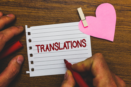 Writing note showing Translations. Business photo showcasing Written or printed process of translating words text voice Small pitch paper clip paperclip love wood black shadow creative ideas Imagens
