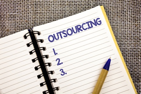 Word writing text Outsourcing. Business concept for Obtain goods or service by contract from an outside supplier Ball point pen work spring diary chronicle daily routine jute background