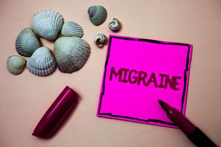 Text sign showing Migraine. Conceptual photo Recurrent headache in one side of head nausea and disturbed vision Ink marker open cap small shells handwrittern notes artwork paper sheet