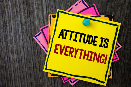 Text sign showing Attitude Is Everything. Conceptual photo Personal Outlook Perspective Orientation Behavior Wooden background ideas messages intentions reflections communicate inform
