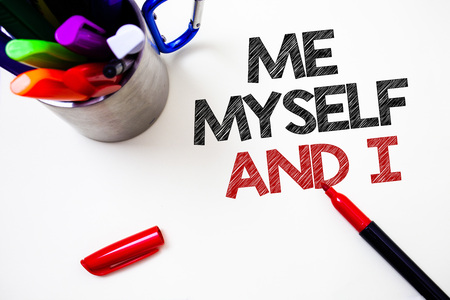 Text sign showing Me Myself And I. Conceptual photo selfish self-independent Taking responsibility of actions Pen white background grey shadow important temple lovely message idea