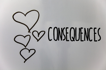 Word writing text Consequences. Business concept for Result Outcome Output Upshot Difficulty Ramification Conclusion Hearts white background ideas messages love lovely intentions thoughts