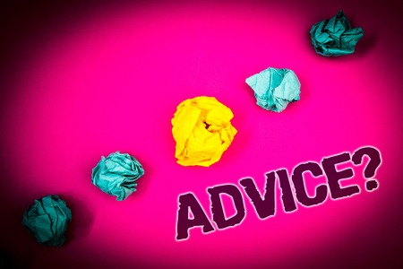 Text sign showing Advice Question. Conceptual photo Counseling Encouragement Assist Recommend Support Steer Ideas concept pink background crumpled papers several tries trial error Stock Photo