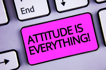 Handwriting text Attitude Is Everything. Concept meaning Personal Outlook Perspective Orientation Behavior Keyboard purple key Intention create text computer message paper essay Stock Photo