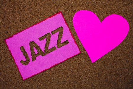 Handwriting text Jazz. Concept meaning Type of music of black American origin Musical genre Strong rhythm Paper heart ideas messages cork background love lovely dedication thoughts
