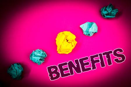 Text sign showing Benefits. Conceptual photo Advantage Insurance Compensation Interest Revenue Gain Aid Ideas concept pink background crumpled papers several tries trial error