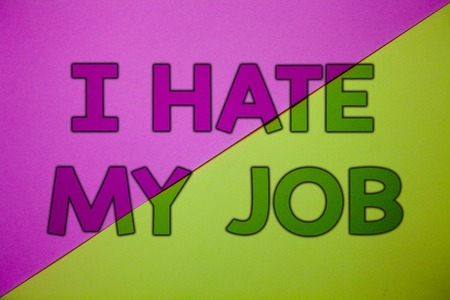 Conceptual hand writing showing I Hate My Job. Business photo showcasing Hating your position Disliking your company Bad career Pink lime background message thoughts important information