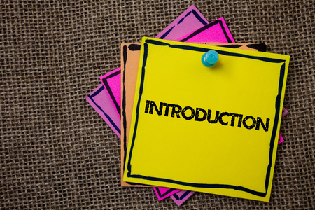 Word writing text Introduction. Business concept for First part of a document Formal presentation to an audience Papers Ideas messages important to remember information jute background