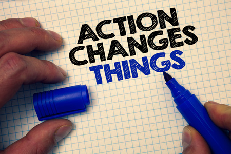 Text sign showing Action Changes Things. Conceptual photo improve yourself Do not stand still Lets do it Graph paper grey important thoughts ideas information science math data