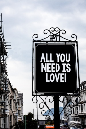 Handwriting text writing All You Need Is Love Motivational. Concept meaning Deep affection needs appreciation romance Vintage black board white letters words cloudy background old city ideas