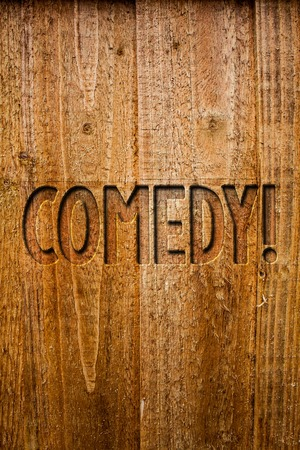 Text sign showing Comedy Call. Conceptual photo Fun Humor Satire Sitcom Hilarity Joking Entertainment Laughing Ideas messages wooden background intentions feelings thoughts communicate Stock fotó