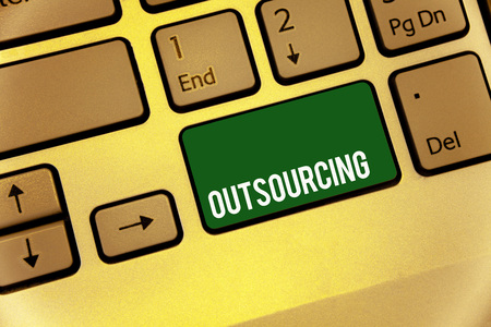 Conceptual hand writing showing Outsourcing. Business photo text Obtain goods or service by contract from an outside supplier Keyboard type message idea office work study program text computer