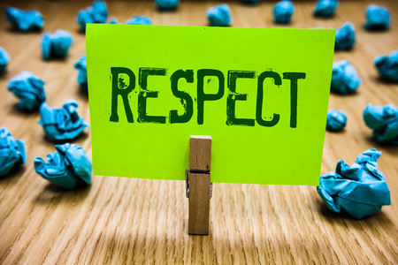 Word writing text Respect. Business concept for Feeling of deep admiration for someone or something Appreciation Paper cyan object thoughts crumpled papers ideas mistakes several tries Stock Photo
