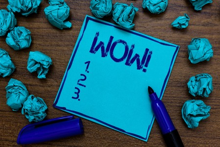 Handwriting text Wow Motivational Call. Concept meaning Expression of somebody speechless amazed overjoyed Cyan paper imagination idea thoughts mistakes several tries marker pen