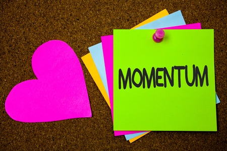 Handwriting text writing Momentum. Concept meaning Quantity motion in moving body Product of mass and velocity Thumb pinned sticky cards love heart messages card remember sign board Imagens