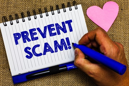 Writing note showing Prevent Scam Motivational Call. Business photo showcasing Consumer protection fraudulent transactions Notepad pen papers ideas thoughts nice lovely love romantic hart mat