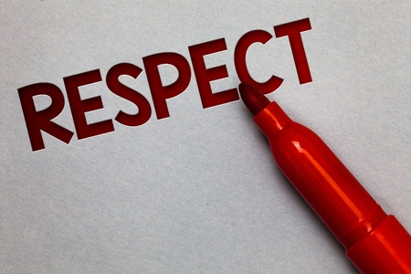 Text sign showing Respect. Conceptual photo Feeling of deep admiration for someone or something Appreciation White paper lite grey shadow red marker pen nice idea memorable thought Stock Photo