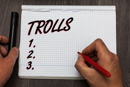Handwriting text writing Trolls. Concept meaning Online troublemakers posting provocative inflammatory messages Graph paper thoughts ideas important marker pens practical book jobs