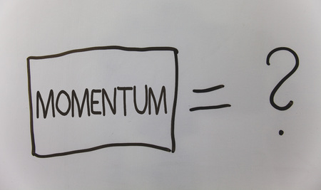 Writing note showing Momentum. Business photo showcasing Quantity motion in moving body Product of mass and velocity Question answer equal plane light background problem calculation board Imagens