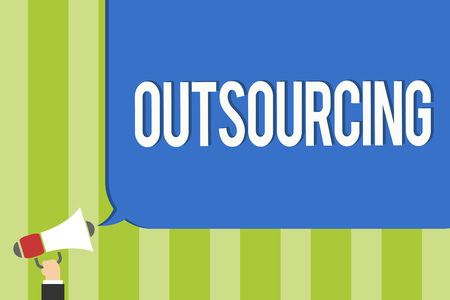 Writing note showing Outsourcing. Business photo showcasing Obtain goods or service by contract from an outside supplier Public notice think declare open announcement speaker convey order Stock Photo