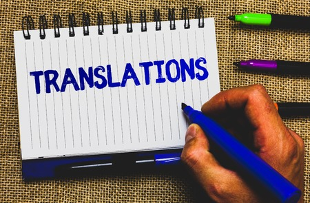Conceptual hand writing showing Translations. Business photo showcasing Written or printed process of translating words text voice Notepad marker creative ideas mat black shadow white papers