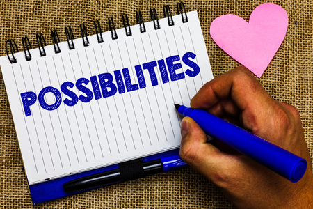 Writing note showing Possibilities. Business photo showcasing Things that may happen or be the case State of being possible Notepad pen papers ideas thoughts nice lovely love romantic hart mat Stock Photo