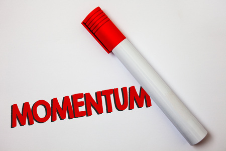 Writing note showing Momentum. Business photo showcasing Quantity motion in moving body Product of mass and velocity Bold board pen red ink marker cap paper class study present lecture