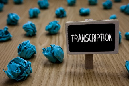 Writing note showing Transcription. Business photo showcasing Written or printed process of transcribing words text voice Cyan paper imagination idea crumpled papers mistakes several tries