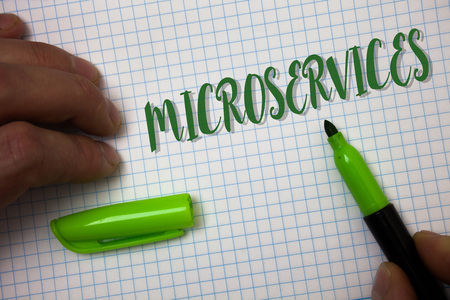 Conceptual hand writing showing Microservices. Business photo text Software development technique Decomposing an application Box background pen cap marker graphs drawing office notebook Stock Photo