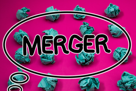 Word writing text Merger. Business concept for Combination of two things or companies Fusion Coalition Unification Crumpled paper balls pattern eliptical design animated font background