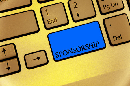 Writing note showing Sponsorship. Business photo showcasing Person or company giving financial material support assistance Keyboard brown key yellow laptop computer keypad notebook netbook Фото со стока