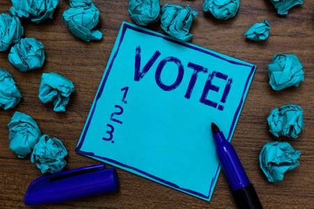 Handwriting text Vote Motivational Call. Concept meaning Formalized decision on important matters electing Cyan paper imagination idea thoughts mistakes several tries marker pen