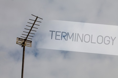 Writing note showing Terminology. Business photo showcasing Collection of terms used by different profession study industry Sky cloud cloudy grey gloomy tall big antenna nature rainy day weather