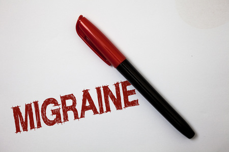 Writing note showing Migraine. Business photo showcasing Recurrent headache in one side of head nausea and disturbed vision Softliner pointer ink handwriting note pen stationery item paper work