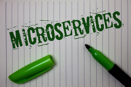 Handwriting text Microservices. Concept meaning Software development technique Decomposing an application Linned paper background pen cap marker highlighter ink green drawing
