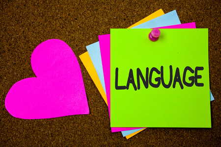 Handwriting text writing Language. Concept meaning Method of human communication Spoken Written Use Words Expression Thumb pinned sticky cards love heart messages card remember sign board Reklamní fotografie