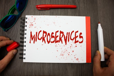 Handwriting text writing Microservices. Concept meaning Software development technique Decomposing an application Googles glasses pen marker cap notepad notebook highlighter eye sight Stock Photo