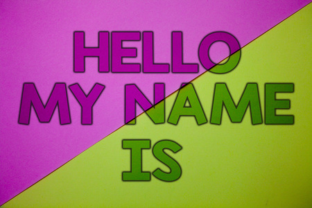 Conceptual hand writing showing Hello My Name Is. Business photo showcasing Introduce yourself meeting someone new Presentation Pink lime background message thoughts important information Stock Photo