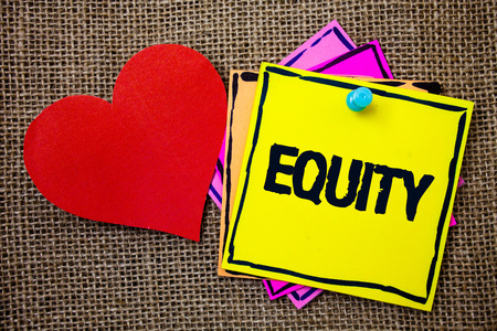 Writing note showing  Equity. Business photo showcasing Value of a company divided into equal parts owned by shareholders Ideas messages paper papers red heart love message jute background