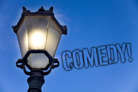 Text sign showing Comedy Call. Conceptual photo Fun Humor Satire Sitcom Hilarity Joking Entertainment Laughing Light post blue sky enlighten ideas message old vintage antique Victorian