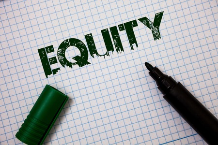 Word writing text Equity. Business concept for Value of a company divided into equal parts owned by shareholders Ideas messages grunge squared notebook page paper open marker inspiration Stock Photo