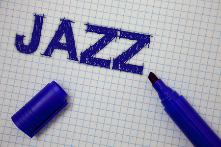 Handwriting text Jazz. Concept meaning Type of music of black American origin Musical genre Strong rhythm Squared notebook page ideas messages blue open marker grid background