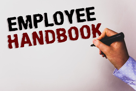 Word writing text Employee Handbook. Business concept for Document Manual Regulations Rules Guidebook Policy Code Text white background board hand black marker meeting teacher school work Reklamní fotografie