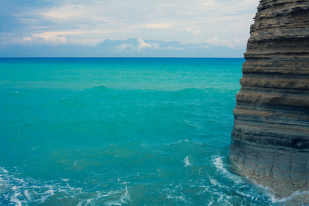 Mediterranean Beautiful Waves, Gorgeos and admirable Blue  Ocean, Wonderful Scenic Sky, Cool Surfing Landscape, Amazing Color Shot, Smoothly Movement of the Sea,