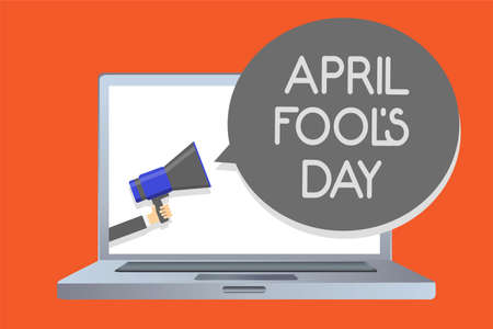 Writing note showing April Fool s is Day. Business photo showcasing Practical jokes humor pranks Celebration funny foolish Network message social media issue public speaker declare announcement