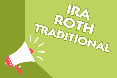 Word writing text Ira Roth Traditional. Business concept for are tax deductible on both state and federal Class room office sound speaker system convey lecture lesson message Stock Photo