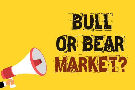 Handwriting text writing Bull Or Bear Market question. Concept meaning asking someone about his marketing method Multiline text notice board recall reassure public message yellow surface Фото со стока